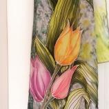 Ръчно рисуван шал-45смх150см Лалета