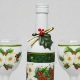 Декорирани бутилки за Коледа. Чаши, свещи, коледни кутии