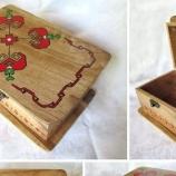 Ръчно рисувана кутия от бяло дърво с народни мотиви