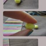 обици филцово топче-жълти
