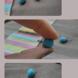 обици филцово топче-сини