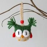 Коледна украса - плетено бухалче - декорация за елха