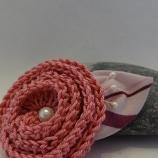 Плетена Брошка Пролетен подарък Нежнорозов цвят