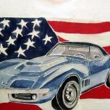 Ръчно рисувана фанелка с Chevrolet Corvette и USA знаме.