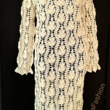 Ръчно плетена рокля с дълъг ръкав