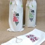 Торбичка за бутилка от плат с принт мотив от шевица