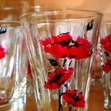 Комплект декоративно рисувани чаши - 18 части (Мак,Слънчогледи)