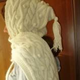 Дамски шал с качулка и ръкавици