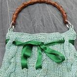 Ръчно плетена чанта с бамбукова дръжка