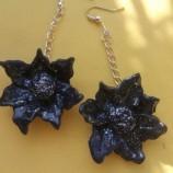 Обеци Цветя в черно