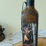 Ръчно декорирана бутилка декупаж