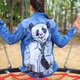 Ръчно рисувани дънкови якета Panda