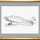 Български самолет Лаз-7М . Рисунка с молив .