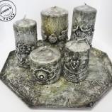 Комплект свещи и поднос