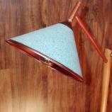 Лампион, ръчна изработка, дърво и медни тръби, плетен кабел.