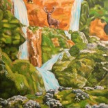 Родопски водопад.Маслена картина.