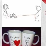 Комплект ръчно рисувани чаши за Св. Валентин 2 бр.