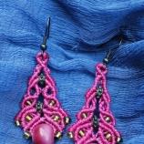 Розови обици с керамични мъниста
