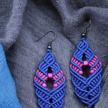 Синьо-розови обици