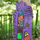 Ръчно рисувана дървесна кора с акрилни бои