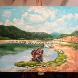 Пейзаж с лодка . Маслена картина .