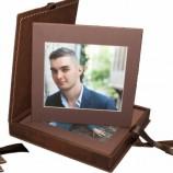 Кожена кутия с 6 броя снимки на канава с кожен гръб  формат 25х2