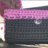 Плетена Чанта във Виолетово и Черно