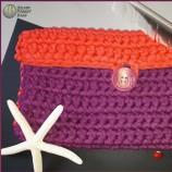 Плетена Чанта във Виолетово и Корал