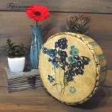 Кръгла кутия - Сини полски цветя
