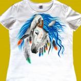 Ръчно рисувана памучна дамска тениска с обло деколте, размер М