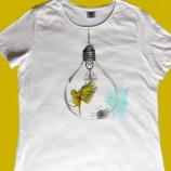 Ръчно рисувана памучна дамска тениска с обло деколте, размер XL