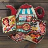 buy Ретро подложки за чаши с поставка чайник Американа in Bazarino