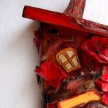 Декоративна дървена къщичка с макове