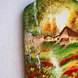 Горска къщичка / картина върху дърво / окачалка за ключове