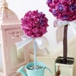 Топиарий дърво на щастието лилав рози
