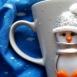 buy Чаша с ръчно изаботена фигурка от полимерна глина - пингвин in Bazarino