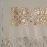 Ръчно бродиран копринен шал с български мотив