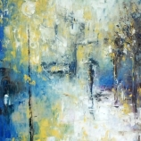 Rainy Urban Landscape - Early Winter - Original Oil Painting