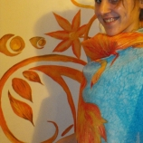 Ръчно рисуван памучен шал -