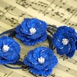 Комплект бижута от полимерна глина - сини цветя
