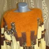 Плетена дамска блуза - ръчно изработена - жълто, оранжево