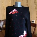 Плетена дамска блуза - ръчно изработена - черна