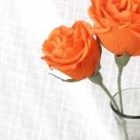 Оранжеви рози от креп хартия-3бр